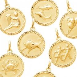 Pendentif Signes du Zodiaque Médaille Plaqué Or
