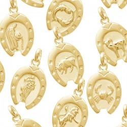 Pendentif Signes du Zodiaque Fer à Cheval Plaqué Or