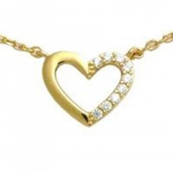 Collier Coeur Plaqué Or 18 carats et Oxydes Zirconium