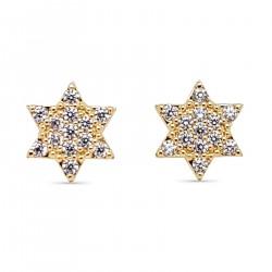Boucles d'oreilles étoile Plaqué Or 18 carats et Oxydes Zirconium