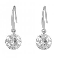 Boucles d'oreilles pendantes en Argent 925 rhodié et Oxyde Zirconium