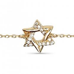 Bracelet étoile de David Plaqué Or 18 carats et Oxydes Zirconium