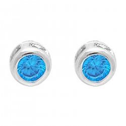 Boucles d'oreilles puce en Argent 925 rhodié et Oxyde Zirconium bleu