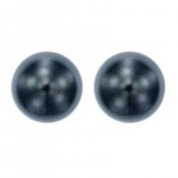 Boucles d'oreilles puce en Argent 925 rhodié et Perle Swarovski® 6mm grise