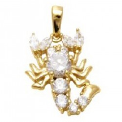 Pendentif Scorpion Plaqué or 18 carats et Oxydes de Zirconium
