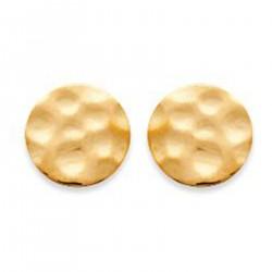 Boucles d'oreilles Disques martelés Plaqué Or 18 carats