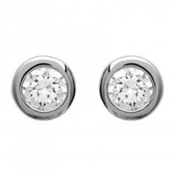 Boucles d'oreilles puce 6mm en Argent 925 rhodié et Oxyde Zirconium