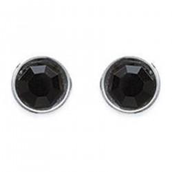 Boucles d'oreilles puce 6mm en Argent 925 et Cristal noir