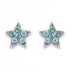 Boucles d'oreilles étoile en Argent 925 et Cristal bleu