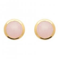 Boucles d'oreilles Plaqué Or 18 carats et Quartz rose