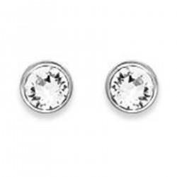 Boucles d'oreilles puce 4mm en Argent 925 et Cristal