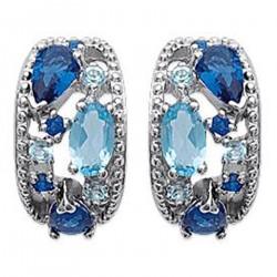Boucles d'oreilles en Argent 925 rhodié et Oxydes Zirconium bleus