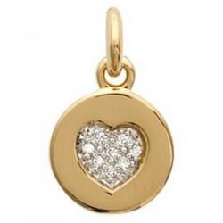 Pendentif médaillon coeur Plaqué or 18 carats et Oxydes de Zirconium