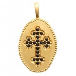 Pendentif médaillon Croix Plaqué or 18 carats et Oxydes de Zirconium noirs