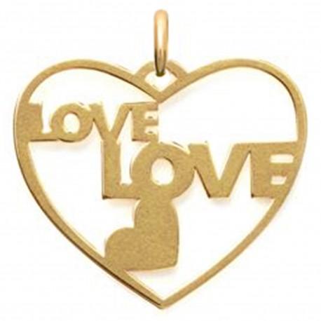 Pendentif Love Coeur Plaqué or 18 carats