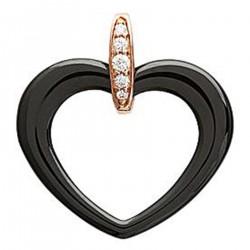 Pendentif Coeur Plaqué or rose 18 carats, Céramique noire et Oxydes de Zirconium