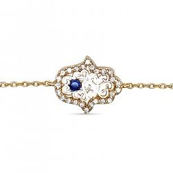 Bracelet Main de Fatma Plaqué Or 18 carats et Oxydes Zirconium