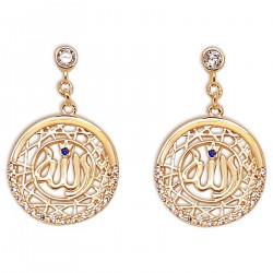 Boucles d'oreilles Allah Plaqué Or 18 carats et Oxydes Zirconium