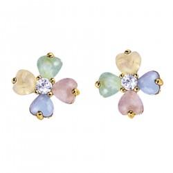 Boucles d'oreilles Trèfle à 4 feuilles Plaqué Or 18 carats et Oxydes Zirconium multicolores