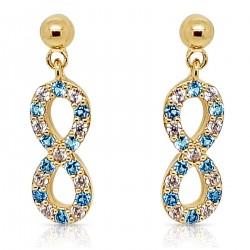 Boucles d'oreilles Infini Plaqué Or 18 carats et Oxydes Zirconium bleus et blancs