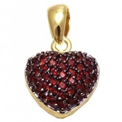 Pendentif Coeur Plaqué or 18 carats et Oxydes de Zirconium rouges