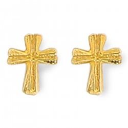 Boucles d'oreilles enfant Croix Plaqué Or 18 carats
