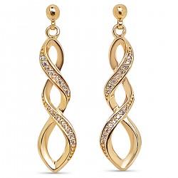 Boucles d'oreilles pendantes Plaqué Or 18 carats et Oxydes Zirconium