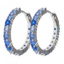 Boucles d'oreilles Créoles en Argent 925 rhodié et Oxydes Zirconium bleus