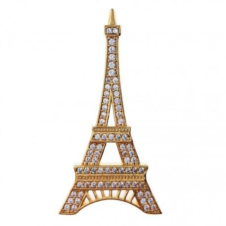 Pendentif Tour Eiffel Plaqué or 18 carats et Oxydes de Zirconium