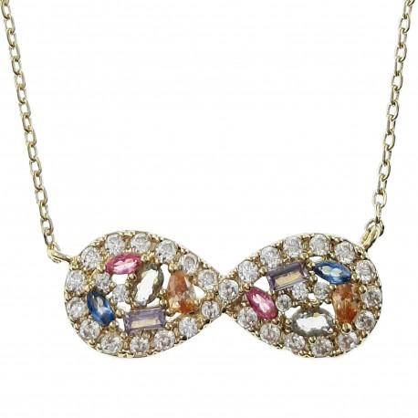 Collier Infini Plaqué Or 18 carats et Oxydes Zirconium multicolores