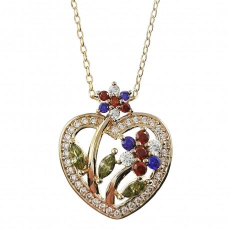 Collier Coeur Plaqué Or 18 carats et Oxydes Zirconium multicolores