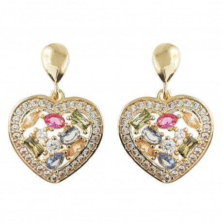 Boucles d'oreilles Coeur Plaqué Or 18 carats et Oxydes Zirconium multicolores