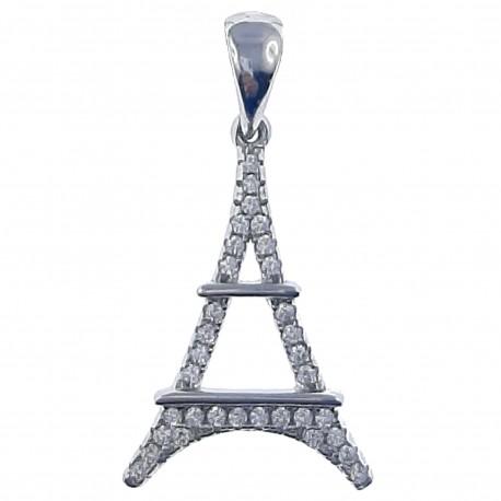 Pendentif Tour Eiffel en Argent 925 rhodié et Oxydes Zirconium