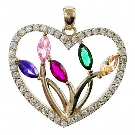 Pendentif Coeur Plaqué or 18 carats et Oxydes de Zirconium