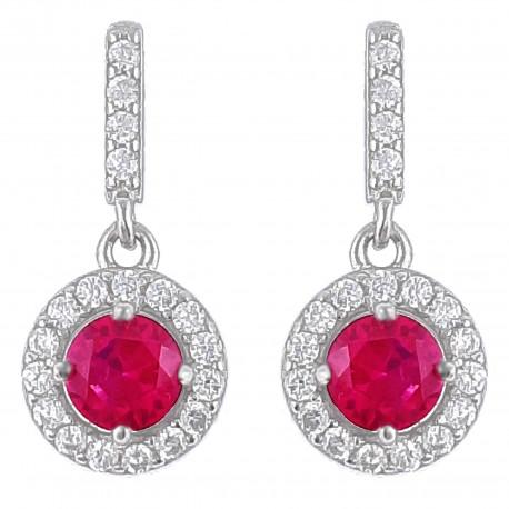 Boucles d'oreilles en Argent 925 rhodié et Oxydes Zirconium rose