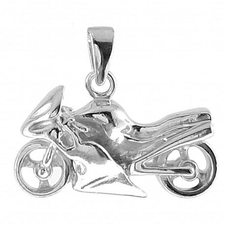 Pendentif Moto de course en Argent 925 rhodié