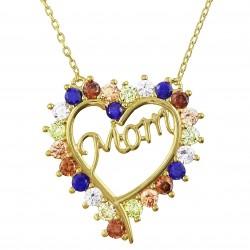 Collier Coeur Mom Plaqué Or 18 carats et Oxydes Zirconium