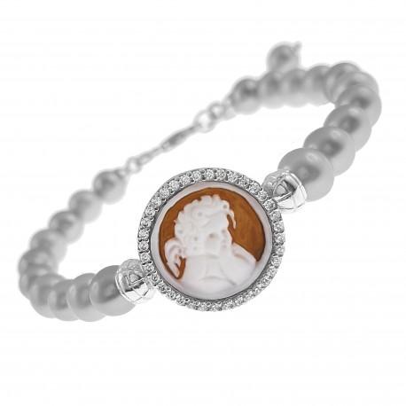 Bracelet Camée en Argent 925 rhodié, Perles de cultures grises et Oxydes Zirconium