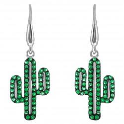 Boucles d'oreilles Cactus en Argent 925 rhodié et Oxydes Zirconium verts