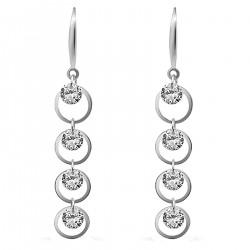 Boucles d'oreilles Anneaux en Argent 925 rhodié et Oxydes Zirconium