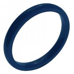 Bague Anneau 3mm en céramique bleue