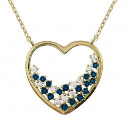 Collier Coeur Plaqué Or 18 carats et Oxydes Zirconium bleus et blancs