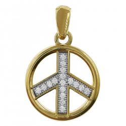 Pendentif Peace & Love Plaqué or 18 carats et Oxydes de Zirconium