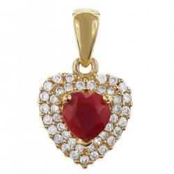 Pendentif Coeur Rubis, Plaqué or 18 carats et Oxydes de Zirconium