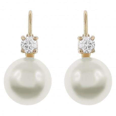 Boucles d'oreilles Plaqué Or 18 carats, Perle synthétique et Oxyde Zirconium