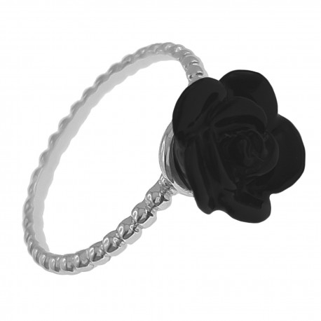 Bague Fleur en Argent 925 et Céramique noire