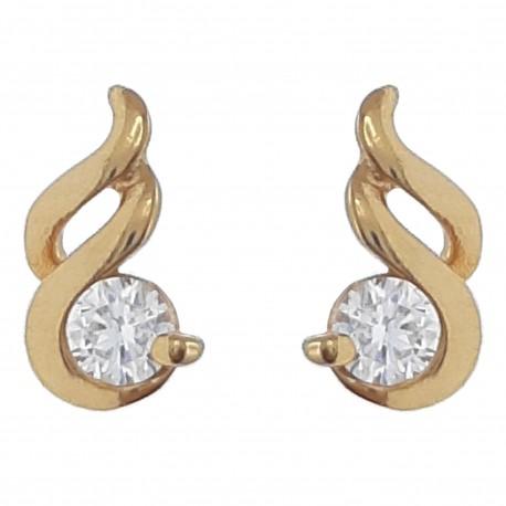 Boucles d'oreilles Plaqué Or 18 carats et Oxyde Zirconium