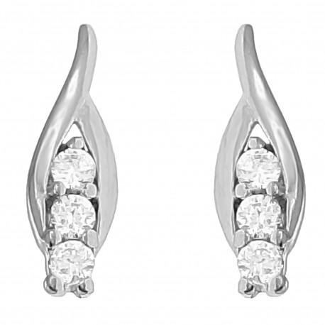 Boucles d'oreilles en Argent 925 rhodié et Oxydes Zirconium