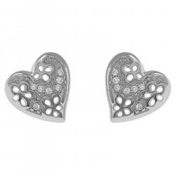 Boucles d'oreilles Coeur en Argent 925 rhodié et Oxydes Zirconium