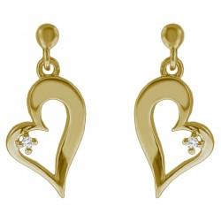 Boucles d'oreilles Coeur Plaqué Or 18 carats et Oxyde Zirconium